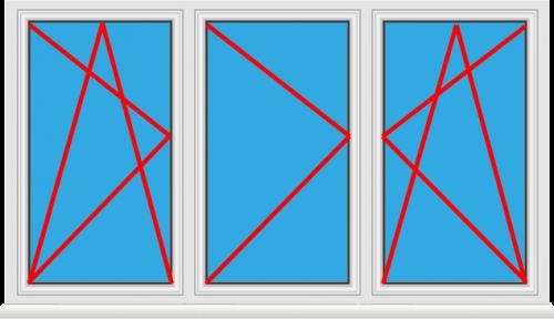 Kunststofffenster 3 Flügelig Dreh Kipp - Dreh - Dreh Kipp