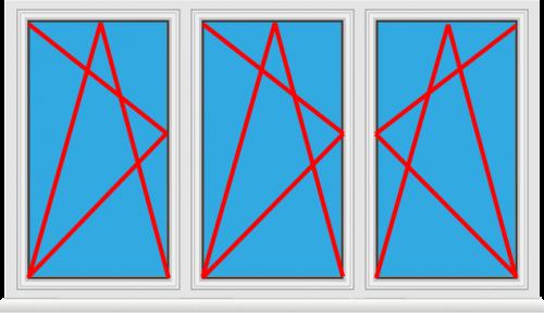 Kunststofffenster 3 Flügelig Dreh Kipp - Dreh Kipp - Dreh Kipp