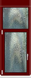 Kunststofffenster Dreh Kipp mit Oberlicht Fest im Blendrahmen und Dekor Dunkelrot