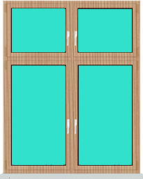 Aluminiumfenster 2 Flügelig Dreh Kipp - Dreh Kipp mit Oberlicht Dreh Kipp - Dreh Kipp mit ADEC Farbe Tanne